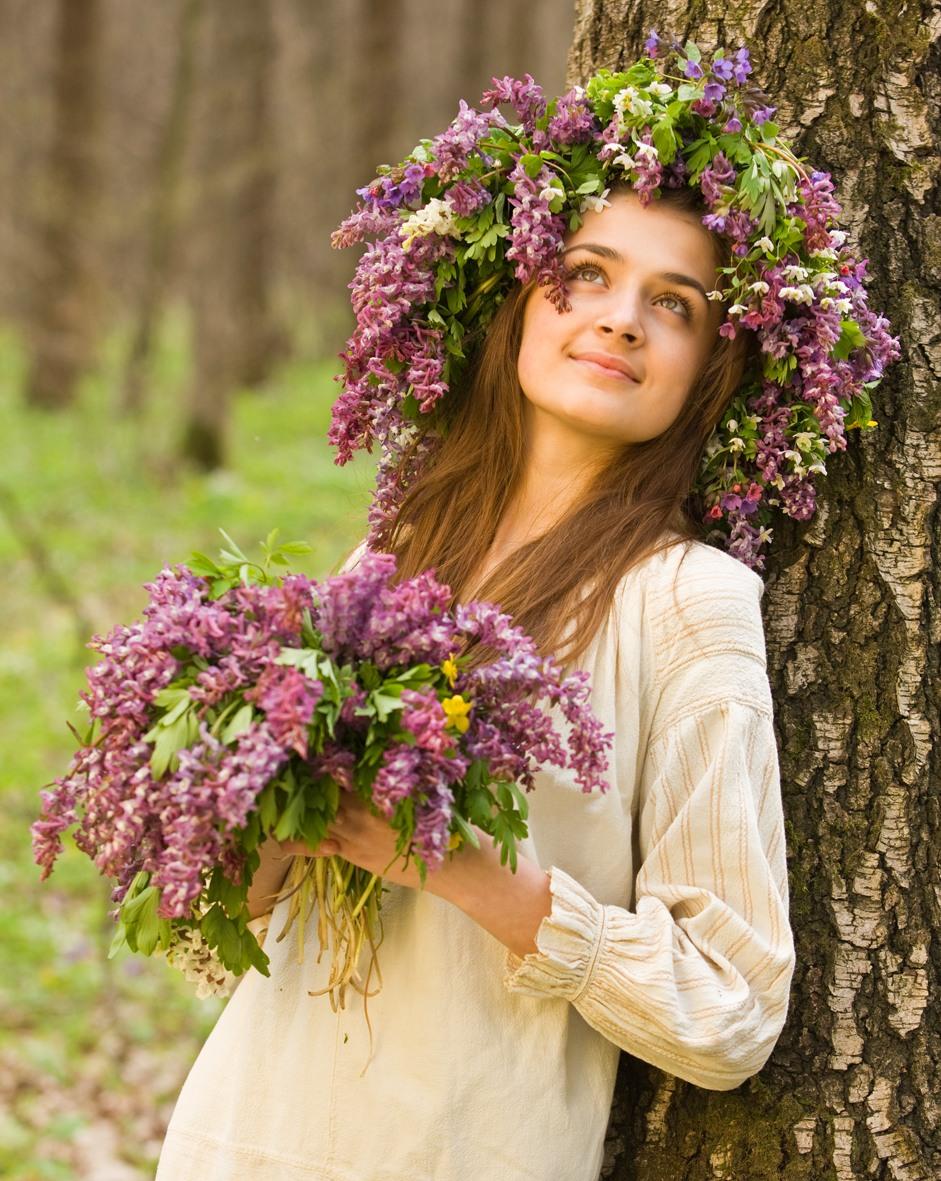 Весна женщины цветы фото